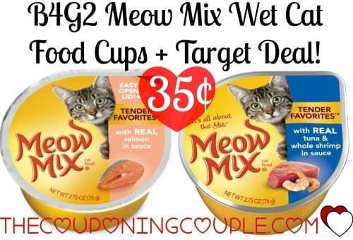image relating to Meow Mix Coupon Printable named Awesome Selling price upon Meow Mixture Damp Cat Foods Cups at Concentrate w/ B4G2