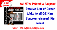 62 NEW Printable Coupons