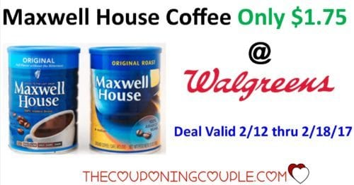 graphic regarding Maxwell House Coffee Coupons Printable titled Maxwell Household Espresso Simply $1.75 every single @ Walgreens starting up 2/12!!