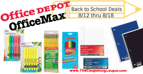 Office Depot OfficeMax Back to School Deals for 8-12