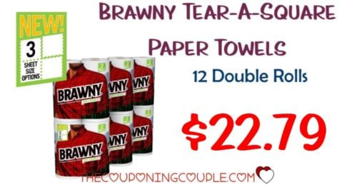 photograph relating to Brawny Printable Coupons known as Brawny Tear-A-Sq. Paper Towels, 12 Double Rolls \u003d $22.79!