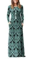 Long Sleeve Maxi Dresses w/ Pockets $15-$23 - Many Prints, size XS-3X